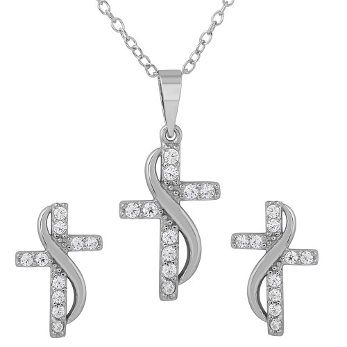 Wholesale Sterling Silver 925 Rhodium Plated CZ Cross With Sash Earrings And Necklace Set - BGS00482
