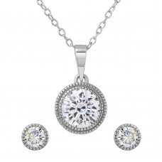 Wholesale Sterling Silver 925 Rhodium Plated Round CZ Earring and Necklace Set - BGS00483