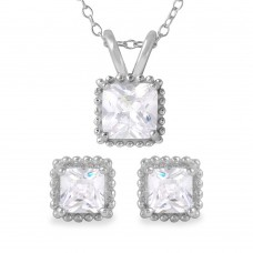 Wholesale Sterling Silver 925 Rhodium Plated Square CZ Earrings and Necklace Set - BGS00484