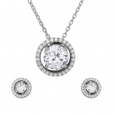 Wholesale Sterling Silver 925 Rhodium Plated Halo CZ Round Earrings and Necklace Set - BGS00485