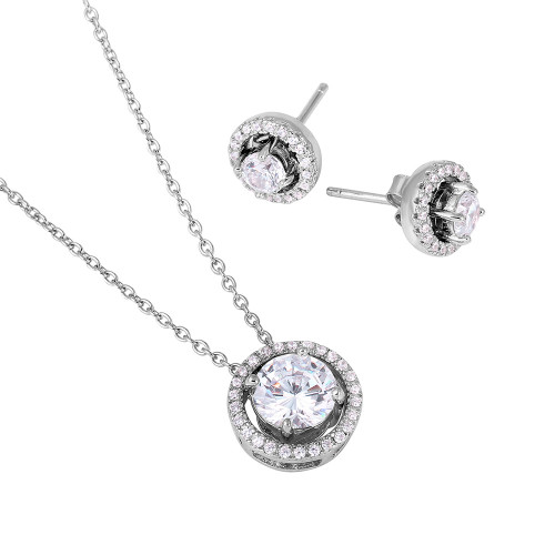 Wholesale Sterling Silver 925 Rhodium Plated Rope Border CZ Center Set - BGS00487
