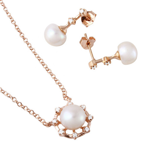 Wholesale Sterling Silver 925 Rose Gold Plated Fresh Water Pearl Set - BGS00486