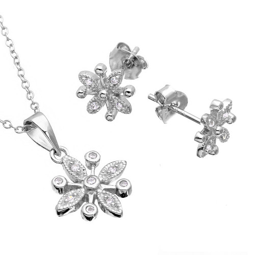 Wholesale Sterling Silver 925 Rhodium Plated CZ Flower Set -  BGS00488