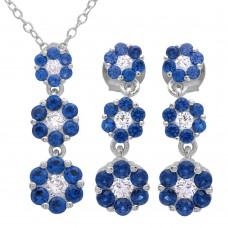 Wholesale Sterling Silver 925 Rhodium Plated 3 Drop Blue CZ Flower Set - BGS00489BLU