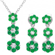 Wholesale Sterling Silver 925 Rhodium Plated 3 Drop Green CZ Flower Set - BGS00489GRN