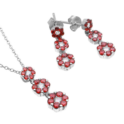 Wholesale Sterling Silver 925 Rhodium Plated 3 Drop Red CZ Flower Set - BGS00489RED