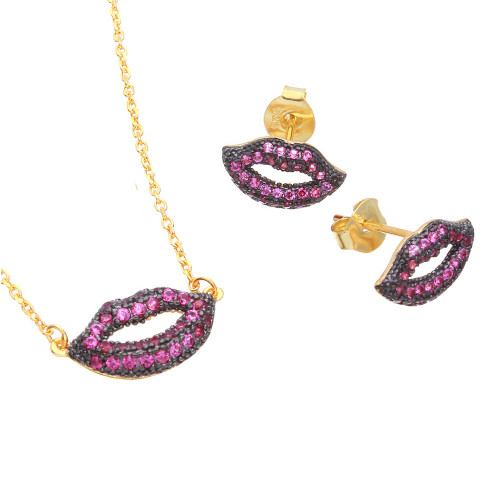 Wholesale Sterling Silver 925 Gold Plated Pink CZ Lips Set - BGS00490GP
