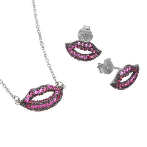 Wholesale Sterling Silver 925 Rhodium Plated Pink CZ Lips Set - BGS00490RHD