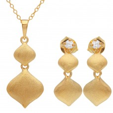 Wholesale Sterling Silver 925 Gold Plated Matte Finish Double Drop Diamond Shape Set - BGS00491