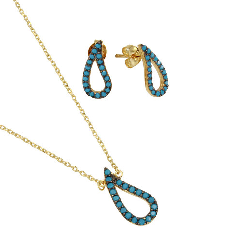 Wholesale Sterling Silver 925 Gold Plated Open Turquoise Teardrop Set - BGS00492