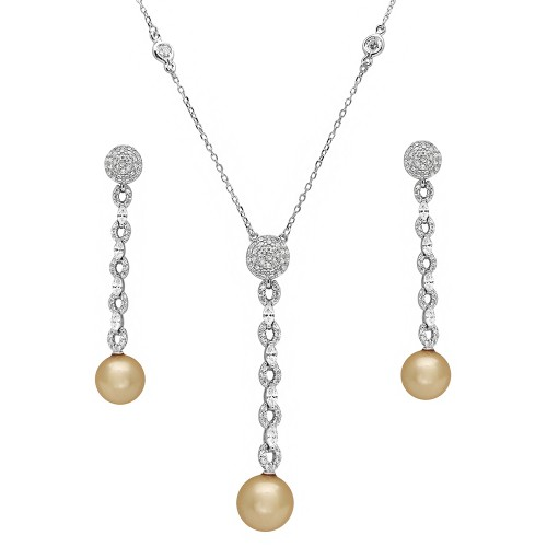 Wholesale Sterling Silver 925 Rhodium Plated CZ Drop Pearl Set - BGS00493