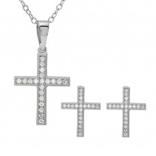 Wholesale Sterling Silver 925 Rhodium Plated CZ Cross Set - BGS00494