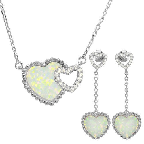 Wholesale Sterling Silver 925 Rhodium Plated Double Heart CZ and Opal Matching Set - BGS00495