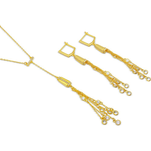 Wholesale Sterling Silver 925 Gold Plated Dropped Bar with CZ Strands Matching Set - BGS00496