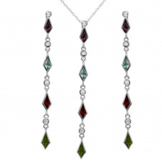 Wholesale Sterling Silver 925 Rhodium Plated Multi Color CZ Drop Set - BGS00497
