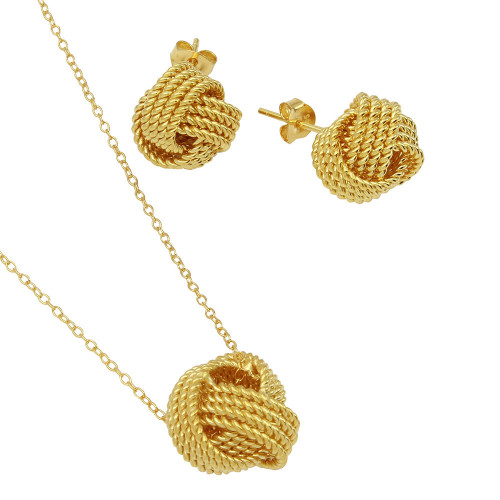 Wholesale Sterling Silver 925 Gold Plated Rope Knot Earrings and Necklace Set - BGS00498GP