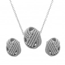 Wholesale Sterling Silver 925 Rhodium Plated Rope Knot Earrings and Necklace Set - BGS00498RHD
