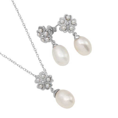 Wholesale Sterling Silver 925 Rhodium Plated Clover Leaf Fresh Water Pearl Set - BGS00499