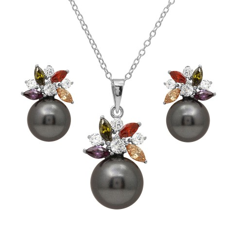 Wholesale Sterling Silver 925 Rhodium Plated Multi CZ Flower Set with Synthetic Black Pearl - BGS00500