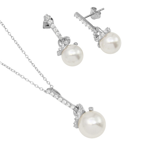 Wholesale Sterling Silver 925 Rhodium Plated Dangling Synthetic Pearls On A Spiral Setting - BGS00501