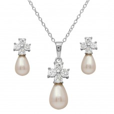 Sterling Silver Rhodium Plated CZ Cross Set With Fresh Water Pearl - BGS00502
