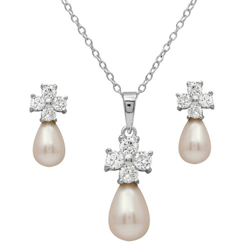 Wholesale Sterling Silver 925 Rhodium Plated CZ Cross Set with Fresh Water Pearl - BGS00502