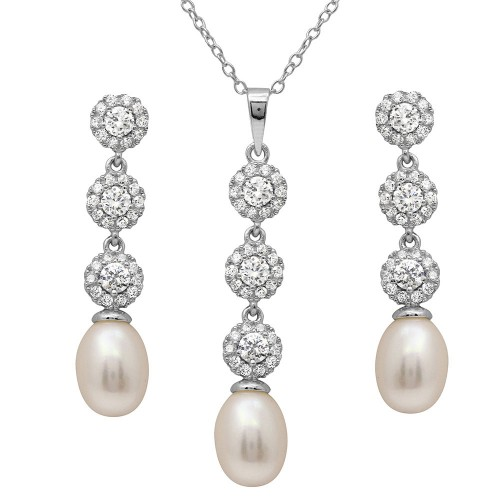 Wholesale Sterling Silver 925 Rhodium Plated Drop CZ and Fresh Water Pearl Set - BGS00503