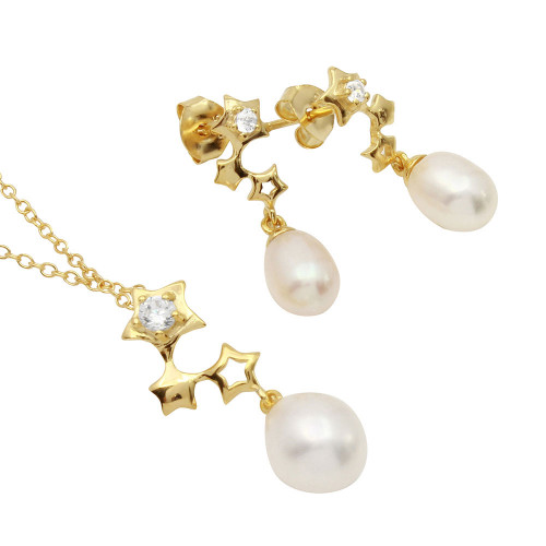 Wholesale Sterling Silver 925 Rhodium Plated Gold Plated Dangling Stars Set with Fresh Water Pearl - BGS00504