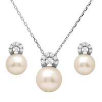 Wholesale Sterling Silver 925 Rhodium Plated Fresh Water Pearl with CZ Stones Sets - BGS00505