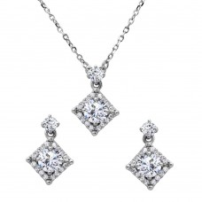 Wholesale Sterling Silver 925 Diamond Shape Halo CZ Set - BGS00506