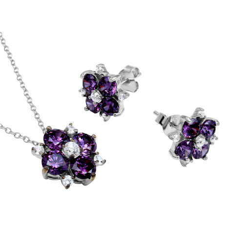 Wholesale Sterling Silver 925 Rhodium Plated Purple Flower CZ Sets - BGS00507AMY