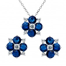 Wholesale Sterling Silver 925 Rhodium Plated Blue Flower CZ Sets - BGS00507BLU