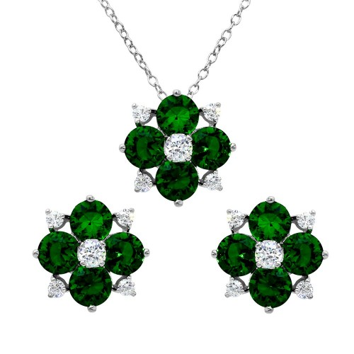 Wholesale Sterling Silver 925 Rhodium Plated Green Flower CZ Sets - BGS00507GRN