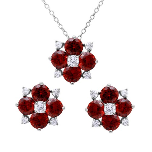 Wholesale Sterling Silver 925 Rhodium Plated Red Flower CZ Sets - BGS00507RED