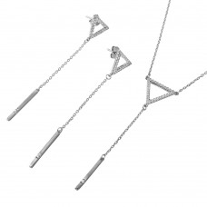 Wholesale Sterling Silver 925 Rhodium Plated Open Triangle with Dropped Bar and CZ Matching Set - BGS00508