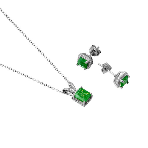 Wholesale Sterling Silver 925 Rhodium Plated Square Green Opal Set - BGS00509