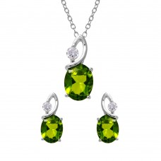 Wholesale Sterling Silver 925 Rhodium Plated Twisted Light Green Oval Birthstone Set - BGS00510AUG