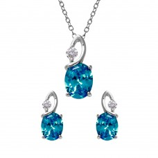 Wholesale Sterling Silver 925 Rhodium Plated Twisted Blue Oval Birthstone Set - BGS00510DEC