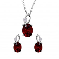 Wholesale Sterling Silver 925 Rhodium Plated Twisted Dark Red Oval Birthstone Set - BGS00510JAN