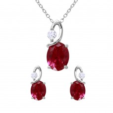 Wholesale Sterling Silver 925 Rhodium Plated Twisted Red Oval Birthstone Set - BGS00510JUL