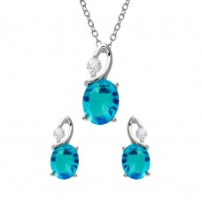 Wholesale Sterling Silver 925 Rhodium Plated Twisted Light Blue Oval Birthstone Set - BGS00510MAR