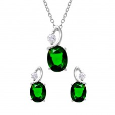 Wholesale Sterling Silver 925 Rhodium Plated Twisted Dark Green Oval Birthstone Set - BGS00510MAY