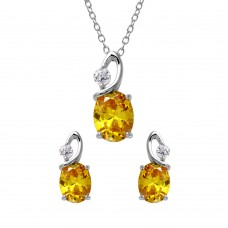 Wholesale Sterling Silver 925 Rhodium Plated Twisted Yellow Oval Birthstone Set - BGS00510NOV
