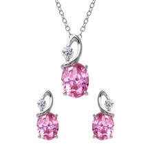 Wholesale Sterling Silver 925 Rhodium Plated Twisted Pink Oval Birthstone Set - BGS00510OCT