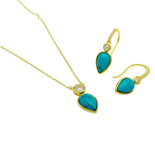 Wholesale Sterling Silver 925 Gold Plated Round CZ with Hanging Pear Turquoise Set - BGS00511
