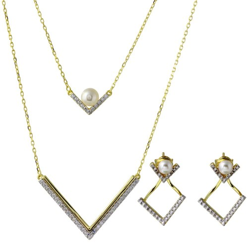 Wholesale Sterling Silver 925 Gold Plated Double Strand V-Shaped Set with Fresh Water Pearl and CZ - BGS00512