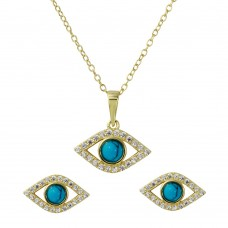 Sterling Silver Gold Plated Evil Eye Set with Turquoise Bead & CZ - BGS00513