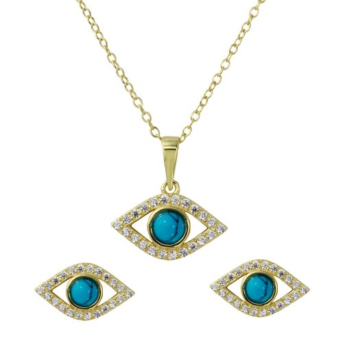 Wholesale Sterling Silver 925 Gold Plated Evil Eye Set with Turquoise Bead and CZ - BGS00513