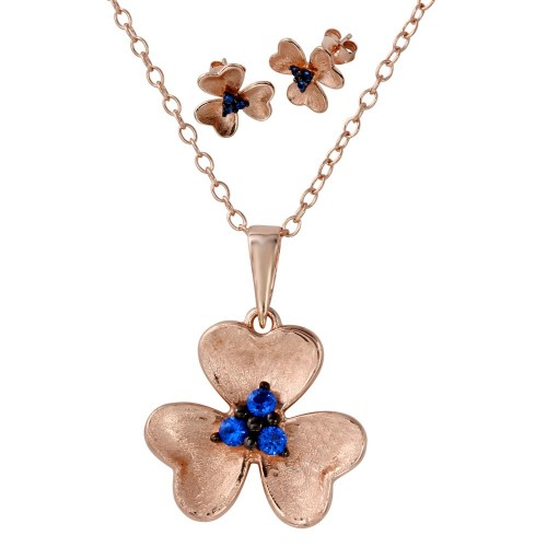 Wholesale Sterling Silver 925 Rose Gold and Black Rhodium Plated Flower Set with Matte Finish and Blue CZ - BGS00514