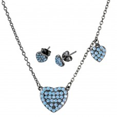 Wholesale Sterling Silver 925 Black Rhodium Plated Light Blue Opal Heart Set - BGS00515